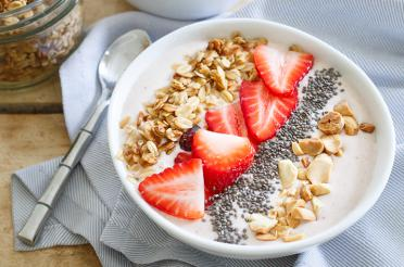 Peanut Butter Smoothie Bowl topped with Strawberries