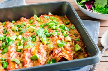 Dish of Black Bean Enchiladas