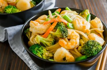 Bowl of Shrimp and Broccoli Lo Mein with Whole Wheat Spaghetti