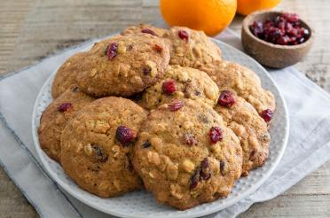 Plate of Tangerine Cranberry Oatmeal Cookies
