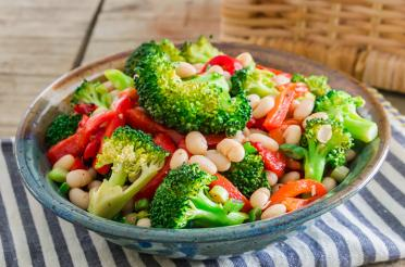 Plate of White Bean and Broccoli Salad