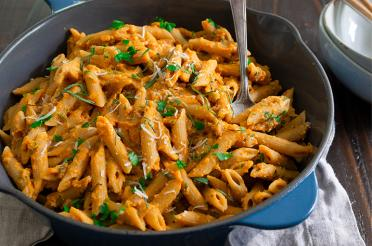 Whole Wheat Penne Pasta with Pumpkin Sauce