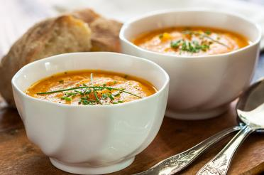 Pureed Carrot Soup in Bowls