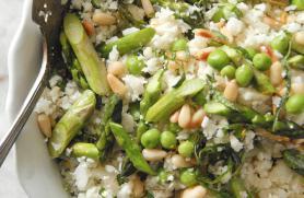 "Cauliflower ""Couscous"" with Asparagus and Peas"