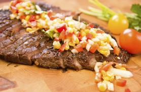 Grilled Adobo Flank Steak with Corn and Tomato Relish