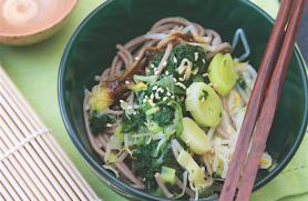 Soba Noodles with Greens and Beans