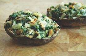 Spinach and Almond-Stuffed Portobello Mushrooms