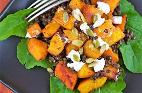 Roasted Squash and Lentil Salad with Goat Cheese