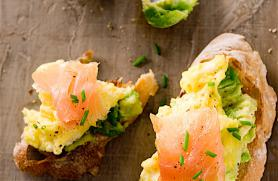 Avocado and Scrambled Egg Toasts with Lox