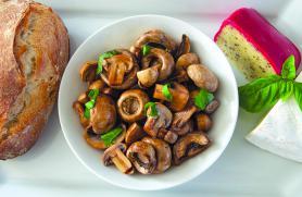 Garlic Poached Mushrooms with Fresh Basil