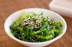 Wakame-Sesame Salad with Pickled Onion Garnish