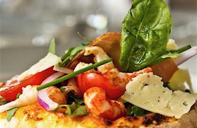 Spanish Shrimp and Manchego Salad Pizza