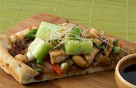 Thai Peanut Pizza with Cucumbers and Sprouts