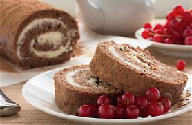 Pumpkin-Cocoa Roll Cake with Chevre Filling