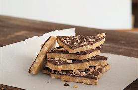 Chocolate Glazed Peanut or Cashew Brittle
