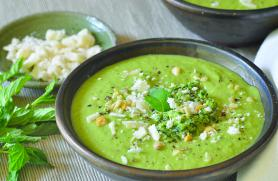 Mint Pesto Pea Soup