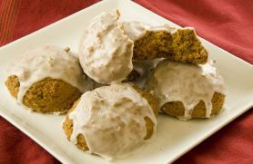 Pumpkin Cookies with Vanilla Drizzle