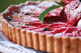 Rhubarb Tart Parisienne with Honeyed Strawberries