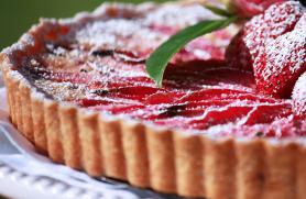 Rhubarb Tart Parisienne with Honeyed Strawberries