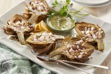 Roasted Artichokes with Lemon Vinaigrette