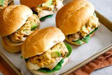Avocado Hummus Chicken Sliders on a platter