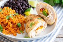 Baked Chicken Fajita Roll-Ups on a plate