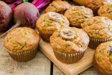 Group of Banana Beet Muffins