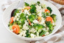 Bowl of Brown Rice Broccoli Salad