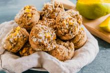 Serving bowl of coconut mango muffins