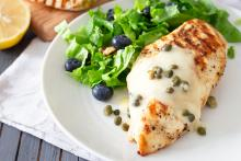 Grilled Chicken with Creamy Dijon Mustard Sauce with Capers