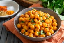 Bowl of Curried Chickpeas in Coconut Milk