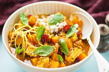 Bowl of Curried Winter Squash and Chicken Stew