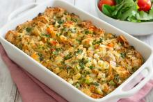 Bread and Veggie Casserole in a casserole dish