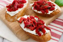 Grilled Goat Cheese Crostini with Roasted Peppers