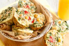 Kale and Chickpea Mini Frittatas baked in a muffin tin