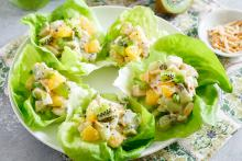 Kiwi Chicken Salad in lettuce leaves