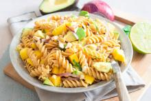 Bowl of Mango Avocado Pasta Salad