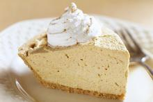 Pumpkin Ice Cream Pie Slice with Whipped Cream