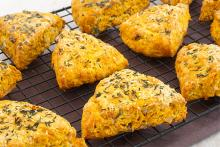 Pumpkin Parmesan Savory Scones on a cooling rack
