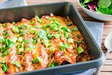 Dish of Black Bean Enchiladas