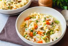 Hearty bowl of Chicken Noodle Soup