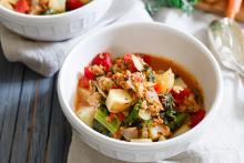 Sausage, Kale and Potato Soup in a single serving bowl