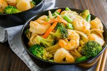 Bowl of Shrimp and Broccoli Lo Mein with Whole Wheat Spaghetti