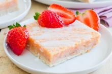 Strawberry Lemon Bar Squares on Plates