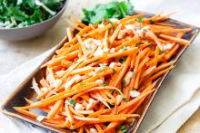 Sweet and Spicy Carrots in Peanut Sauce
