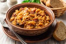 Bowl of Sausage and Cabbage Stew (Bigos)
