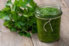 Jar of homemade Spinach Parsley Pesto