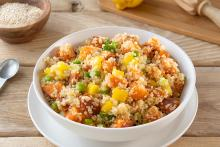 Bowl of Quinoa Salad with Sweet Potatoes and Peppers