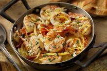 Shrimp in Lemon Butter Sauce in a Pan