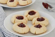 Strawberry Thumbprint Cookies on a Plate